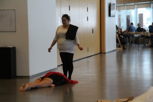 performance with sealblubber, cardboard box, tulle.